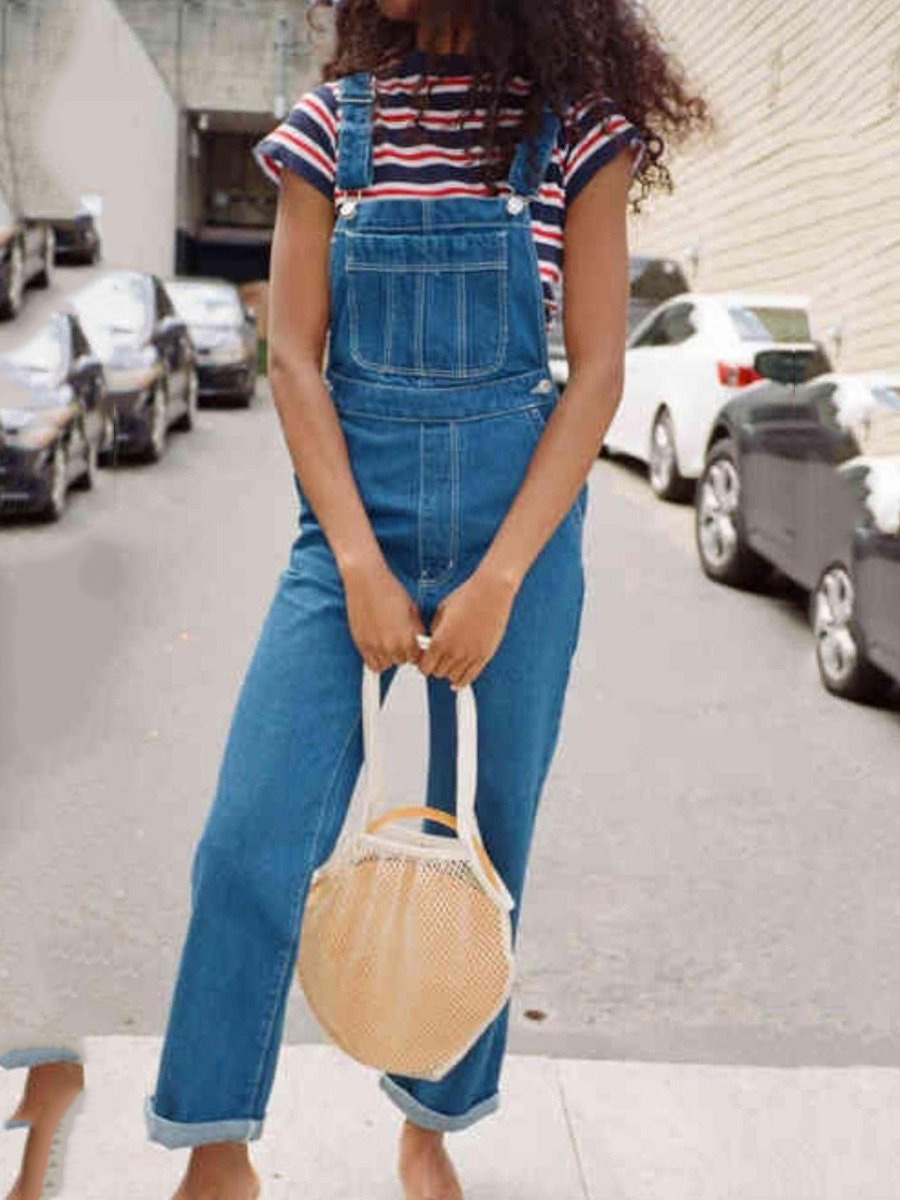 Wide-leg Relaxed Denim Bib Overalls