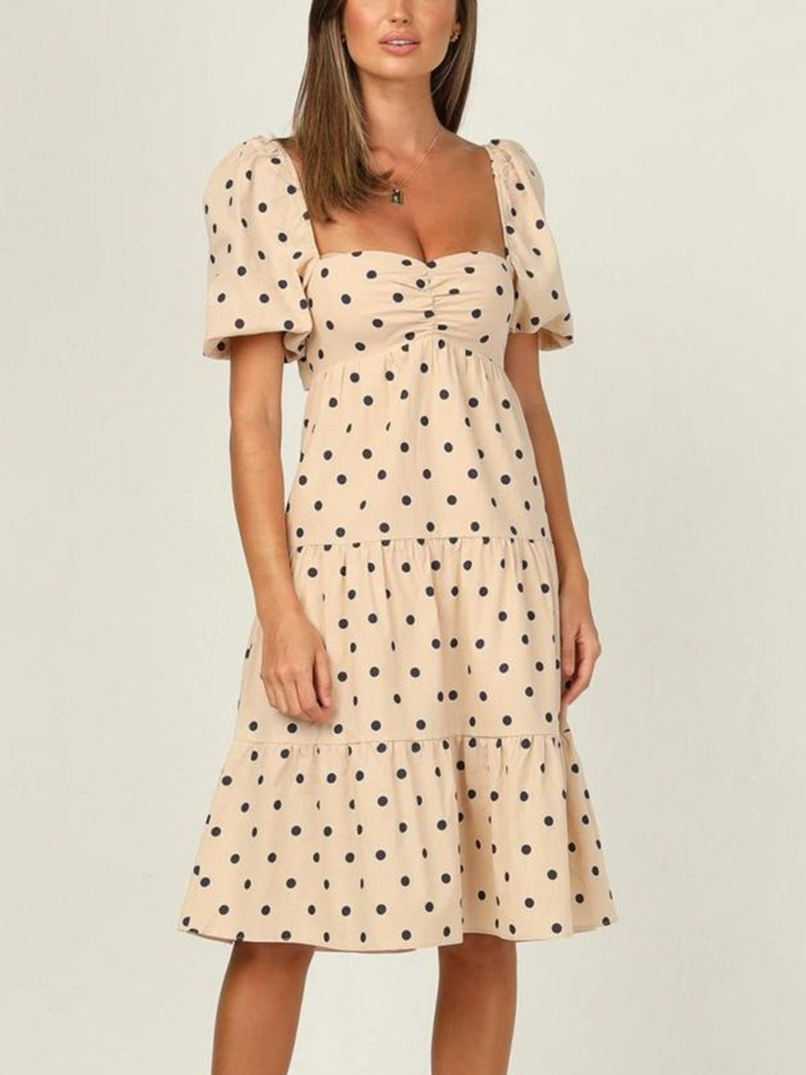 Tied Backless Puff Sleeve Polka Dot Ruffle Dress