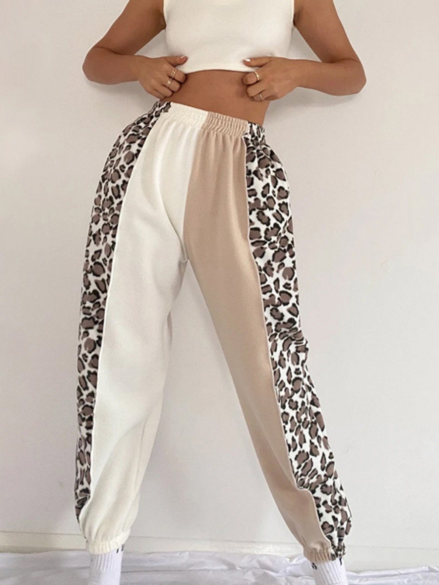 Color-block Leopard Panel Jogger Pants