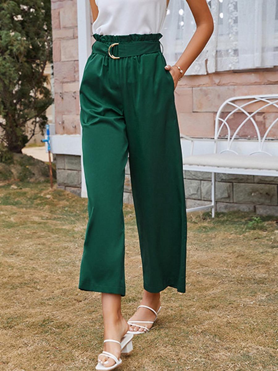Ruffle Waist Green Trousers With Belt