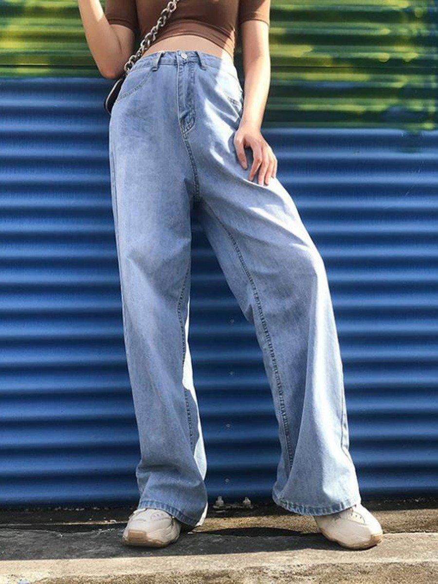 High Waist Wide Leg Blue Jeans