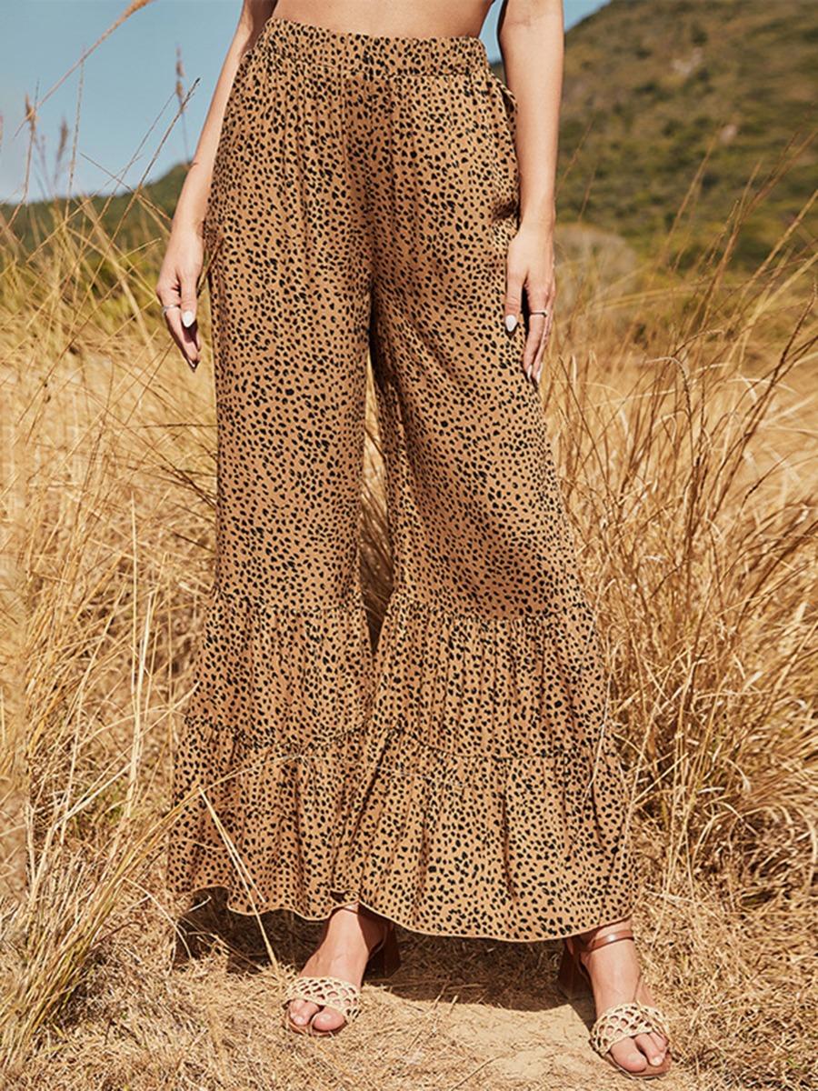 Women Leopard Print Frilling Bell Pants