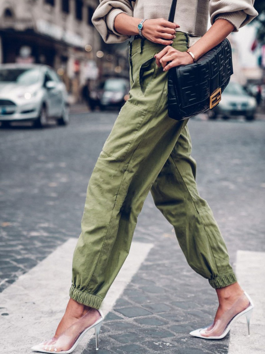 Women Beam Feet Solid Casual Pants