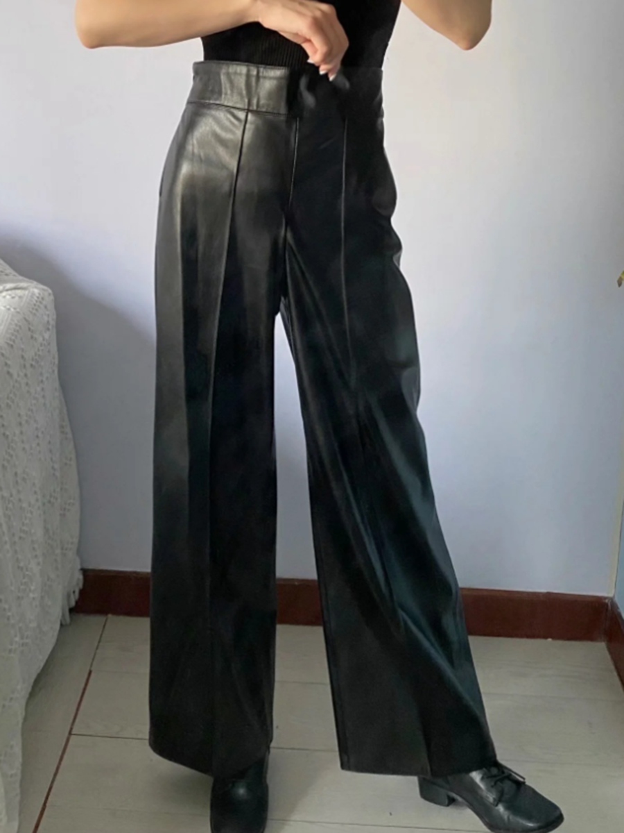 High Rise Wide-leg Leather Trouser